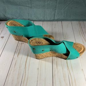 Cato Shoes - NEVER WORN Turquoise Wedge sz 8